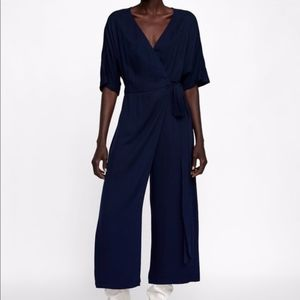 Zara Knit Navy Wrap Jumper Jumpsuit